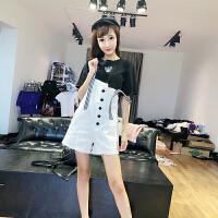 套装女夏2018时尚新款韩版小狗刺绣短袖T恤+纽扣背带裤修身两件套