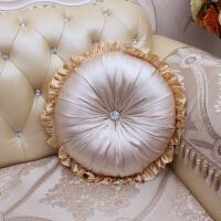 欧式真皮沙发含芯圆形抱枕靠垫圆枕靠枕靠包枕头汽车靠背 直径40cm含芯+5cm花边