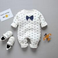 婴儿保暖连体衣春秋夹棉男女宝宝哈衣潮服新生的儿衣服睡衣冬