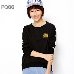 PASS原创潮牌春装新款 贴布袖拼接撞色印花潮流套头前短后长T恤女6610111014