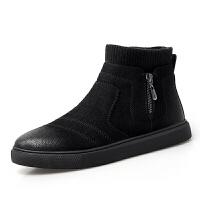 棉鞋休闲时尚加棉高帮棉鞋袜子口真皮 黑色