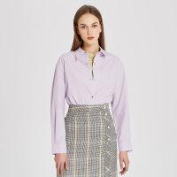 【1件2折到手价:79.8】MECITY女装紫色宽松中长款设计感小众心机按扣长袖衬衫