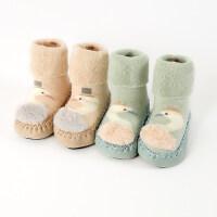 2双0-12个月春秋冬男女宝宝新生婴儿童地板鞋袜子松口防滑底