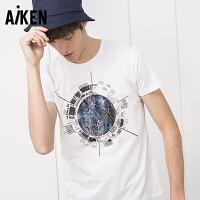 森马旗下Aiken短袖T恤男士2017夏季新款圆领半袖上衣男体恤个性印花衣服潮