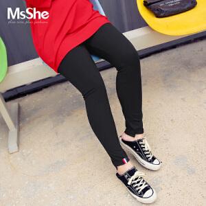 MsShe加大码女装2017新款秋装人棉松紧腰打底小脚裤M1730384
