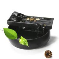 陶瓷流水摆件办公室桌面喷泉客厅风水轮招财加湿器鱼缸小礼品禅意