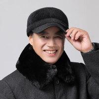 秋冬毛呢平顶帽冬天中老年帽子男士老人男帽老年人帽护耳老头帽子