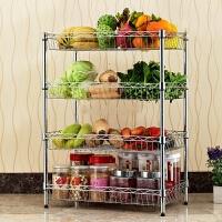 4层蔬菜水果收纳架厨房置物架四层不锈钢色菜架子落地锅架储物架