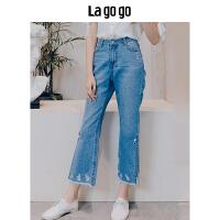 Lagogo2018夏季新款开叉磨破牛仔裤高腰毛边宽松休闲裤子女装潮