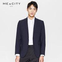 【2件1.5折价:149.9】MECITY春季蓝色横条纹西装外套男小西服
