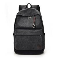 双肩帆布背包初高中大学生书包男女旅行李大容量时尚潮流韩版电脑 黑色 洗水黑