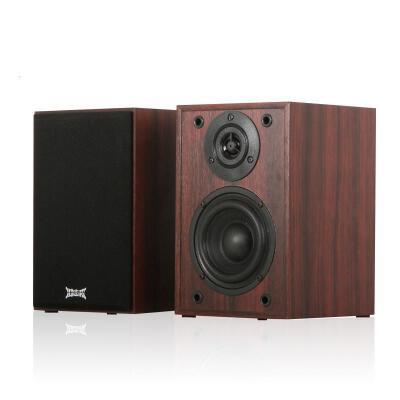 shockwave 红色恋人 2.0声道 经典外观有源音箱 棕红色纯木质音响小巧玲珑的木质箱体,温和浅灰面罩