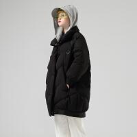 初语长款羽绒服女冬季新款撞色连帽拼接过膝茧型保暖潮外套