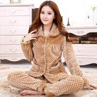 秋冬季睡衣女加厚情侣珊瑚绒睡衣女套装家居服长袖