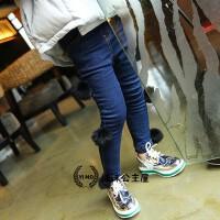 韩版童装女童冬季新款毛球加绒加厚牛仔裤铅笔裤A6-A7