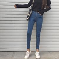 高腰显瘦紧身牛仔裤春季新款女装铅笔九分裤黑色百搭弹力小脚裤潮