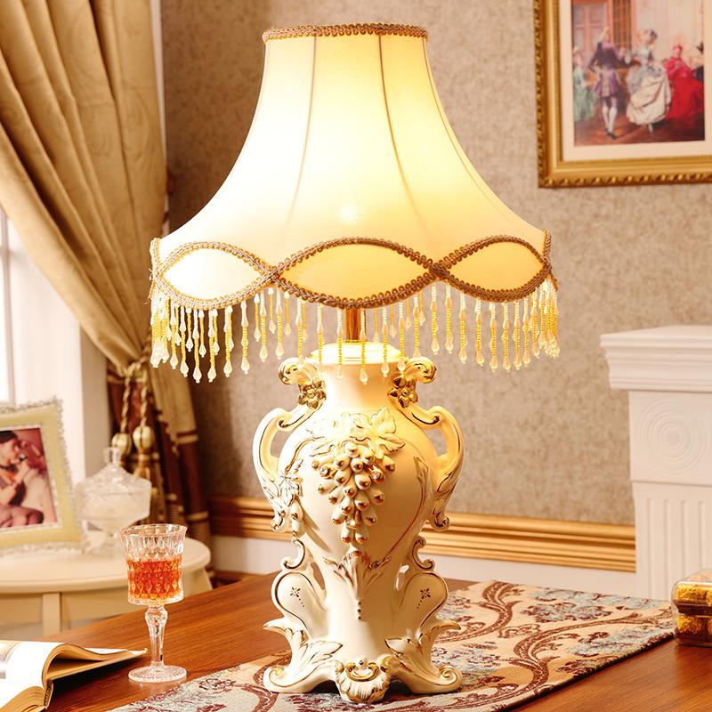 欧式客厅灯饰摆件创意陶瓷工艺品卧室大号家居装饰品结婚礼物 台灯+灯罩(不含灯泡))
