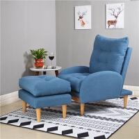 北欧懒人沙发椅阳台布艺小沙发单人迷你折叠沙发床创意靠背躺椅子 蓝色 单人沙发+脚凳