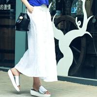 亚麻半身裙长款2018新款休闲白色裙子文艺及踝大码夏季棉麻长裙