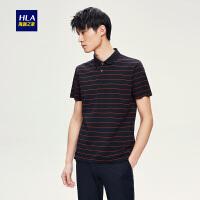 HLA/海澜之家条纹丝光棉短袖T恤2018夏季新品舒适短袖polo衫男