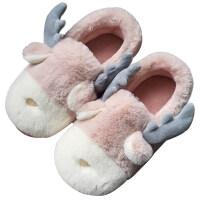 冬季ins网红卡通棉拖鞋女包跟 男居家室内可爱情侣保暖鞋月子棉鞋