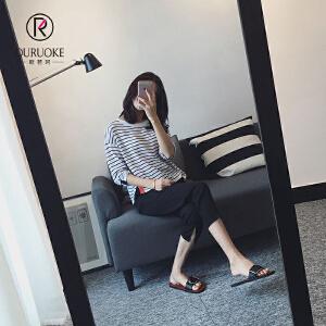 欧若珂 2018夏季九分开叉女高腰显瘦休闲西装裤大码宽松小脚裤潮女
