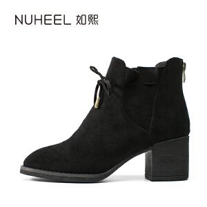 如熙 2017秋冬新款女靴 个性松紧带设计 时尚粗跟英伦女靴