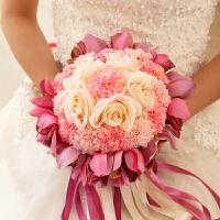 新娘手捧花结婚新款 仿真韩式婚礼玫瑰花束影楼拍摄道具婚庆用品Cn