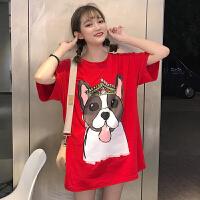 夏季女装韩版可爱动物印花宽松圆领短袖中长款百搭打底T恤女学生