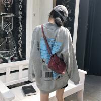 字母印花加绒高领中长款卫衣女春季新款韩版百搭宽松显瘦长袖上衣