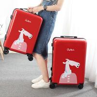 可爱卡通旅行箱子拉杆箱女大学生20寸登机箱小清新行李箱万向轮24
