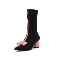 蝴蝶结短靴子2018秋冬新品欧美尖头中筒粗跟高跟及踝靴显瘦弹力靴女 黑色