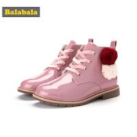 巴拉巴拉儿童靴子女童冬季鞋2018新款保暖韩版短靴冬季鞋大童鞋潮