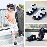 2018夏韩版童鞋新款儿童包头凉鞋真皮男童中童沙滩洞洞鞋