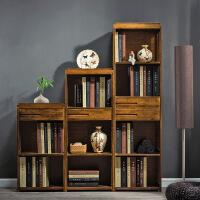 简易书架置物架实木多层落地中式客厅中式复古书柜储物收纳架