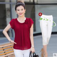中年T恤女夏装女装短袖上衣30-40岁妈妈装时尚韩版宽松大码雪纺衫