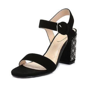 Tata/他她2018夏专柜同款羊皮革绒面水钻珍珠一字带高跟女凉鞋FP501BL8