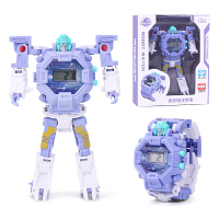 抖音同款儿童玩具变形金刚手表机器人电子手表卡通粉色小女孩男孩