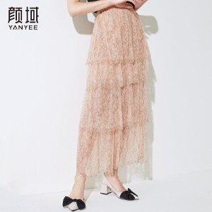 颜域2018新款印花蛋糕裙时尚修身减龄长款网纱半身裙品牌女装夏款