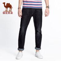 camel 骆驼男装微弹黑色牛仔裤男士韩版修身直筒长裤青年商务休闲男裤子