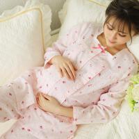 月子服薄款孕妇睡衣产后喂奶衣套装春夏季产妇哺乳衣棉纱布