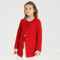 【2件2.5折到手价:104.75】米喜迪mecity童装女童红色呢大衣羊毛中长款无领儿童外套