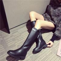韩版时尚粗跟长靴女秋冬新款学院风百搭骑士靴内增高黑色女靴