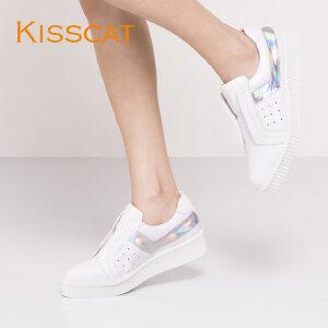 接吻猫时尚牛皮一脚套休闲拼接低跟乐福鞋女DA76581-52