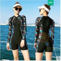 潜水游泳衣拼接学生长袖温泉泳装泳衣女保守遮肚显瘦连体平角游泳衣