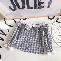 韩版童装18春季新款条纹格子衬衫荷叶边花边蕾丝长袖衬衫A-S43