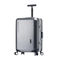 2018铝框拉杆箱行李箱20小旅行箱包万向轮皮箱子22韩版女男24寸密码箱 【合金铝框款】拉丝灰 20寸