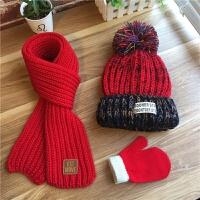 加绒三件套秋冬儿童毛线帽子围巾男孩女宝宝婴儿针织套头帽厚 红色 加绒粗线 三件套 18个月-3岁 建议帽围47-50c