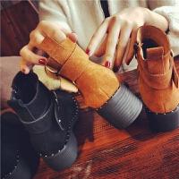 欧洲站冬季新款真皮短靴女加绒毛暖侧拉链马丁靴女靴学生复古女鞋