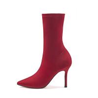 高跟细跟尖头短靴瘦瘦靴中筒秋季靴子女2018新款袜子靴弹力靴踝靴